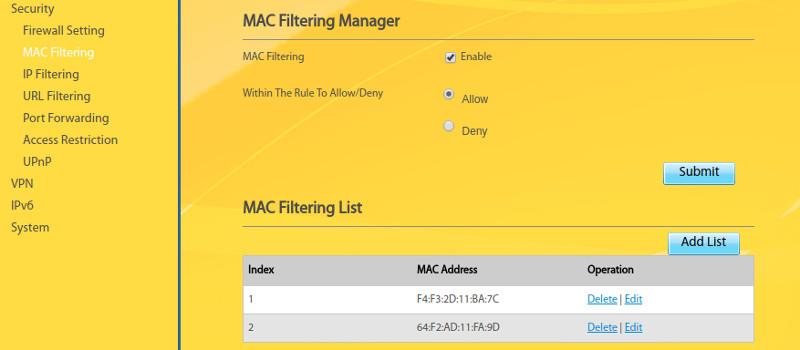 استفاده از گزینه mac filtering در مودم gp2101 | مودم من