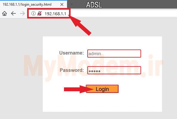 نام کاربری و رمز عبور برای ورود به صفحه پنل مودم adsl | مودم من
