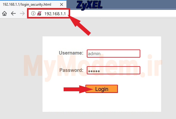نام کاربری و رمز عبور برای ورود به صفحه پنل مودم زایکسل | مودم من