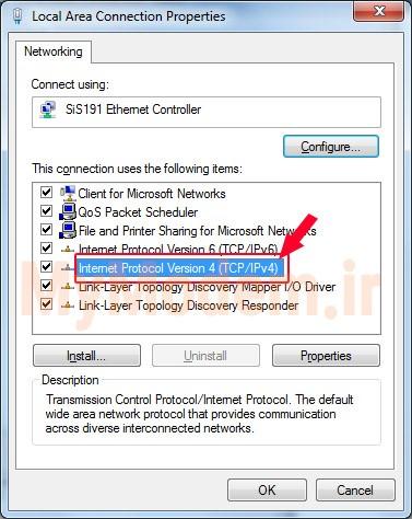 گزینه (Internet Protocol (TCP/IP برای تنظیمات دستی آدرس IP | مودم من