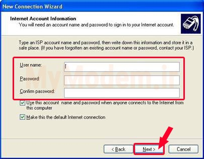 انتخاب نام کاربری و رمز عبور | مودم من